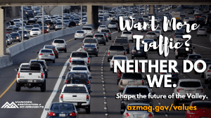 Image of Traffic with caption saying Want more Traffic? Neither do we.  Shape the future of the vall